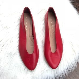 Zara Red V-Cut Leather Ballerinas